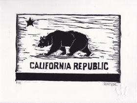 California Republic Linocut Eric Rewitzer