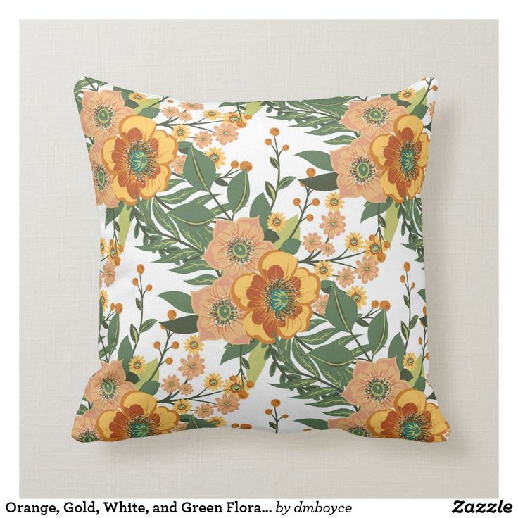Orange Gold White And Green Floral Baroque Throw Pillow Zazzle Com Floral Throw Pillows Throw Pillows Patterned Throw Pillows