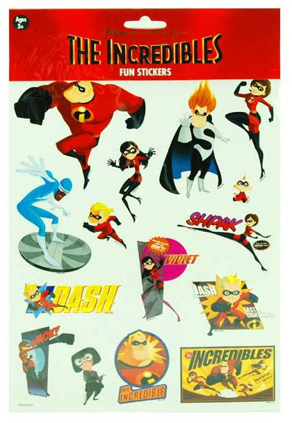The Incredibles Stickers and more of The Incredibles toys at Funstra