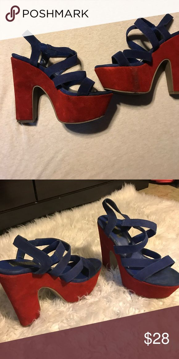 Blue and red Deena& Ozzy sandal heels Deena & ozzy sandal heels. They are in fair condition. You won't find these anywhere ❤️ Deena & Ozzy Shoes Heels