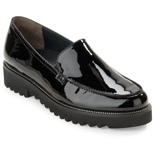Paul Green Ariana Patent Leather Loafers ($299) ❤ liked on Polyvore featuring shoes, loafers, flats, black, black patent leather flats, flat pumps, black loafers, flat shoes and patent loafers