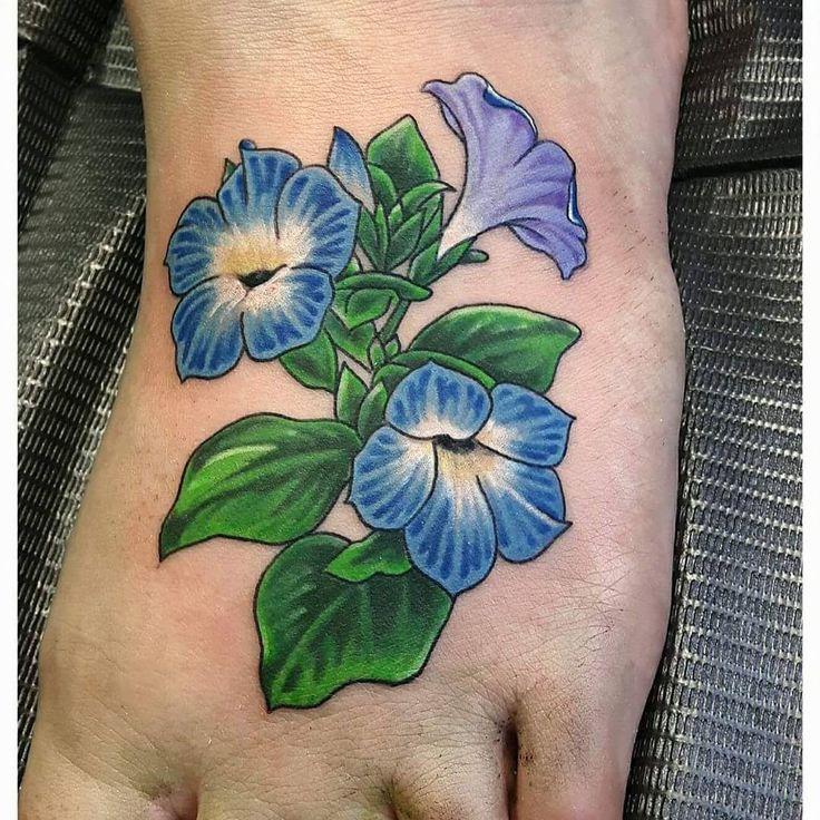 Purple petunias sleeve tattoo
