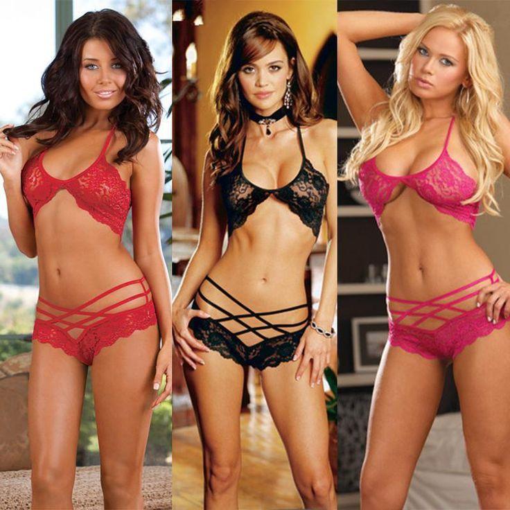 Women Sexy Lingerie Lace Bra and Panty Set Perspective Bikini Underwear