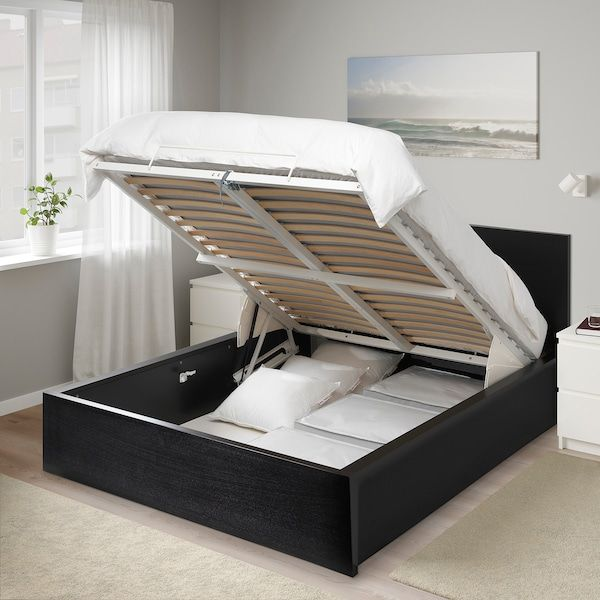 Malm Cadre Lit Coffre Brun Noir 160x200 Cm Ikea In 2020 Storage Bed Black Bedding Ikea Small Bedroom