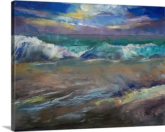 Canvas On Demand Moonlit Waves by Michael Creese Painting Print on Canvas #CanvasOnDemand