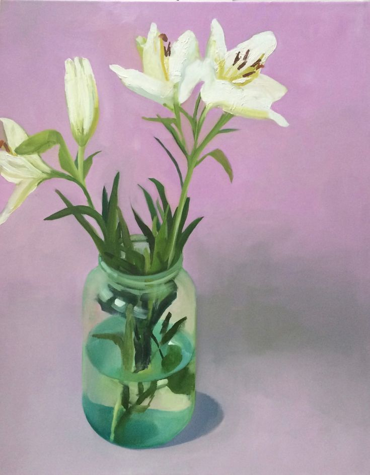 FINEARTSEEN - View Lillies by Jane Kell. A beautiful original floral painting to brighten up your home or interior decor. Freshen up your walls for Spring and view the beautiful authentic collection of artwork available on FineArtSeen - The curated online destination to discover and buy original art from the world's most talented artists. Enjoy Free Delivery with every order. >