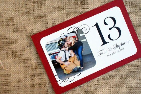 Foto personalizada tarjetas de mesa / mesa números  colores
