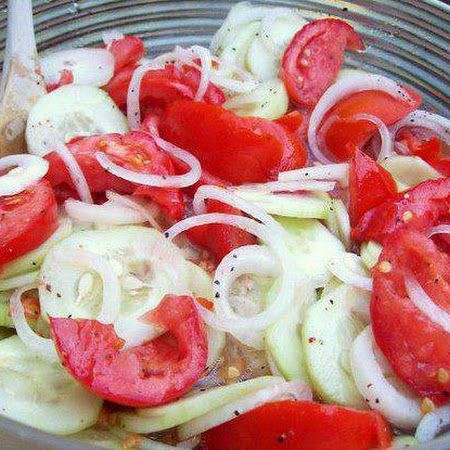 Marinated Cucumbers, Onions, and Tomatoes  I can't wait for the everything in the garden ti ripen.