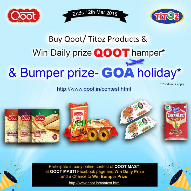 Participate in easy online contest of Match QOOT/TITOZ Product with packing & Win Qoot gift hamper. Play & Win Prize and a Chance to Win Bumper Prize. (More inviting & sharing will make you more likely to win Bumper Prize) Click here on this link for Participate . https://contest.fbapp.io/match-qoot-titoz-product-with-packing . For more winner details click here http://www.qoot.in/contest.html  Buy & Win exciting prices or a Trip to #Goa - for more details Call or whatsapp : +91-9828032535…