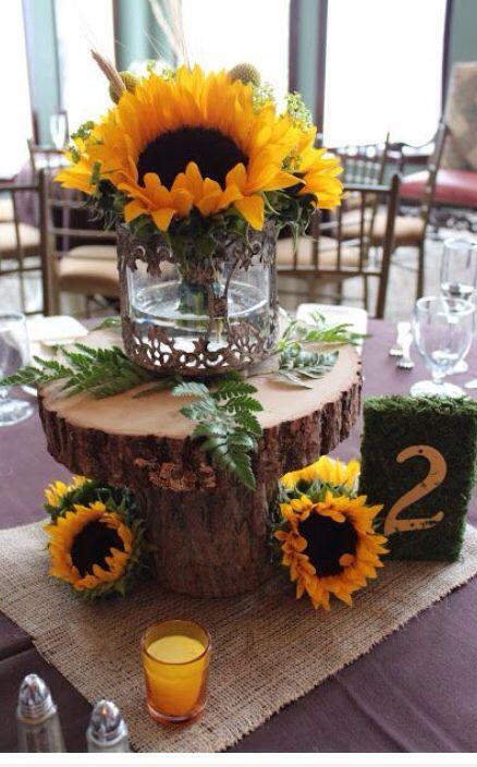 Another rustic sunflower centerpiece