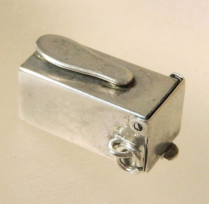OLD STERLING SILVER 3D MENS SHOE SHINE BOX CHARMS