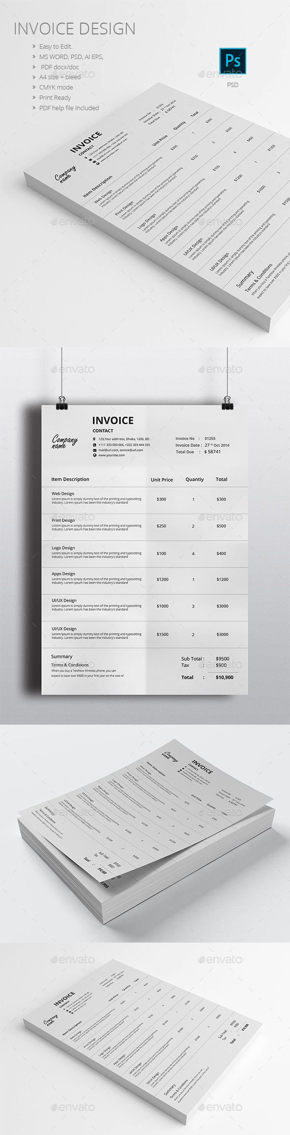 Invoice Template design Download httpgraphicrivernetitem 41 best