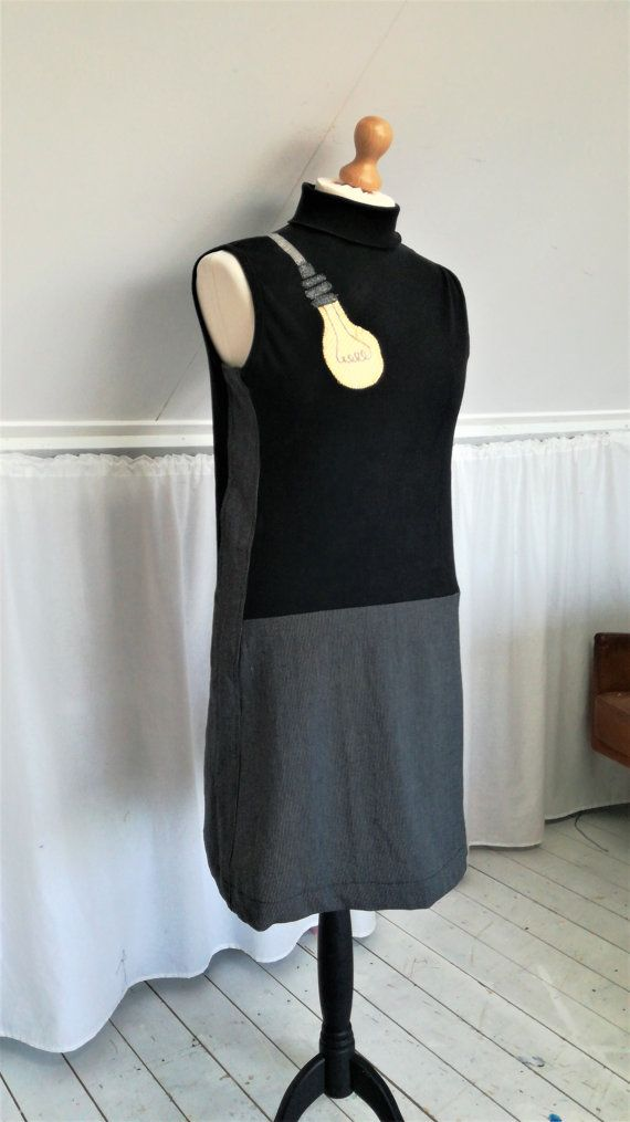 Cool Dress Upcycled Dress Cool Clothes Black by MevrouwHartman Light Bulb, Fun Dress, https://www.etsy.com/shop/MevrouwHartman  http://www.mevrouwhartman.nl/