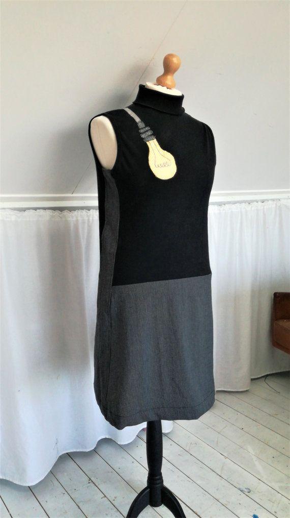 Cool Dress Upcycled Dress Cool Clothes Black by MevrouwHartman Light Bulb, Fun Dress, https://www.etsy.com/shop/MevrouwHartman  http://www.mevrouwhartman.nl/