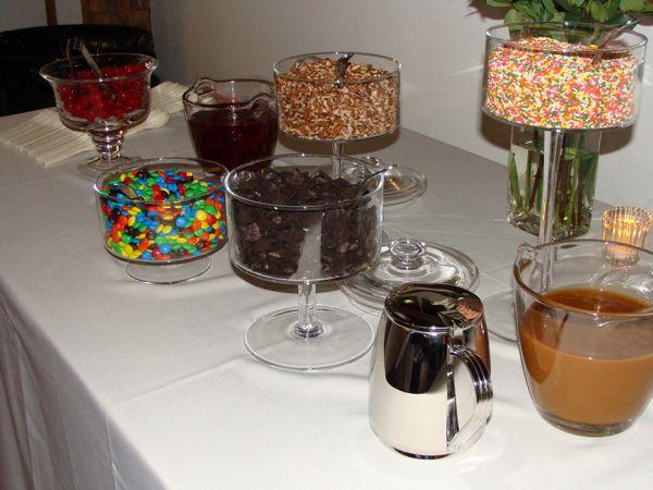 ice cream sundae bar   Wedding   Pinterest