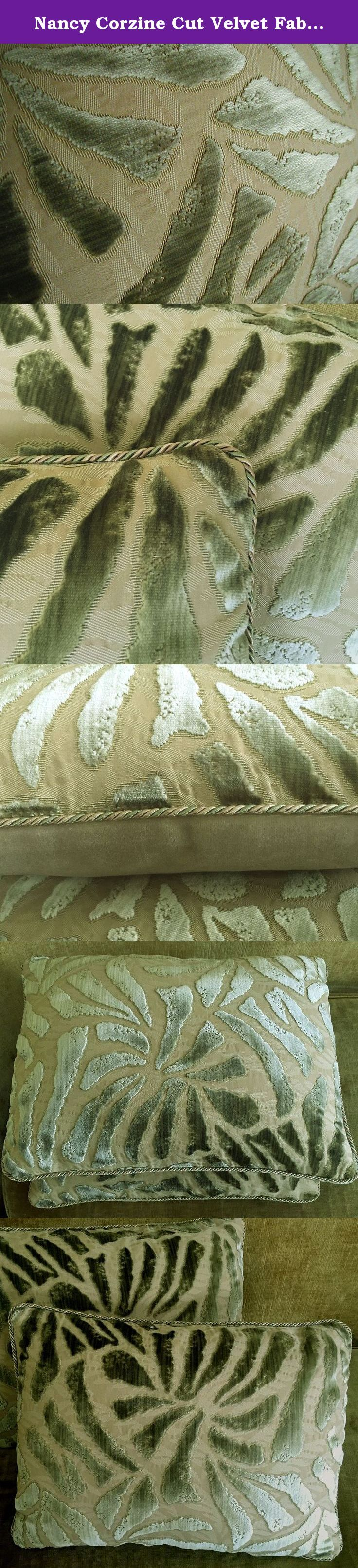 """Nancy Corzine Cut Velvet Fabric Custom Designer Throw Pillows Cavallo New Set of 2 Stone Green Beige. Spectacular cut velvet by Nancy Corzine made into a pair of toss cushions, each measuring a versatile 13""""h x 17""""w, a nice, smaller size that's just right for chairs, benches, or to stack in front of larger cushions. The listed price is for one pair of pillows, with repeats slightly different from one another. Pale silvery sage/olive green velvet, subtly striated, in a shade so quiet it…"""