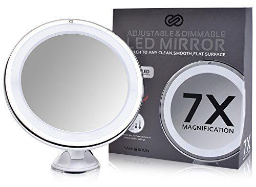Sanheshun ?tui de voyage chaud LED Miroir de maquillage, Touch, Charbon actif puissant portable Support ¨¤ ventouse, 360 ¡ã pivotant,…