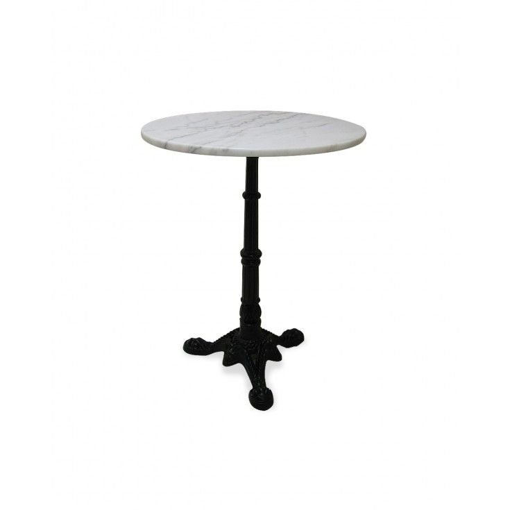 Marble Bistro Table W/Iron Base   White Marble: You Will Feel Like Your