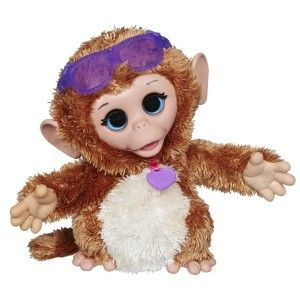 FurReal Friends: Baby Cuddles My Giggly Monkey Pet Plush It is ridiculously cute and it burps, snores, kisses, hiccups, and giggles. The arms very flexible and durable against rough playing. press the button on its stomach and it will move from side-to-side, laughing. http://awsomegadgetsandtoysforgirlsandboys.com/furreal-friends-2/ FurReal Friends: Baby Cuddles My Giggly Monkey Pet Plush
