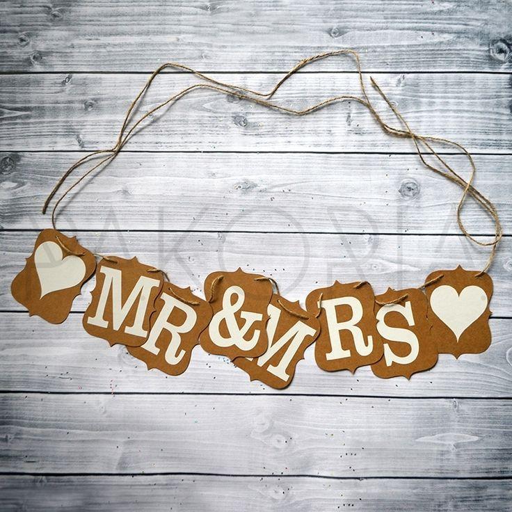 Girlanda MR & MRS ECO 2,4 m. Zawieszka, transparent, napisy, MR and MRS. Na krzesła nowożeńców. Eko tło, eko sznurek. Inspiracje na wesele. ślub. pakoria.pl Wedding, just married, wedding inspirations. Eko