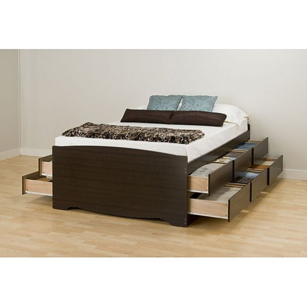 $577 - Free Ship - Espresso Tall Queen 12-drawer Captain's Platform Storage Bed