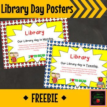 Library Day Posters - Use this FREE poster to remind your students and parents which day is library day in your classroom. Choose from a red or blue background. This works in ANY classroom, but it especially great for a superhero classroom decor theme. {preschool, Kindergarten, 1st, 2nd, 3rd, 4th, 5th, 6th grade, preK, K, first, second, third, fourth, fifth, sixth graders, FREE, freebie, library skills}