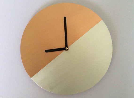 4fe86d4b4 Real Copper Wall Clock Silver Wall Clock Handmade Modern Decor Metal Round Wall  Clock