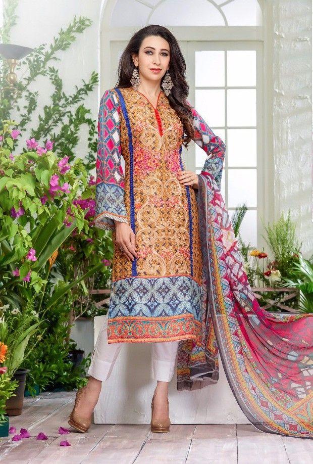 Karishma Kapoor Multi Color Cotton Dress Material