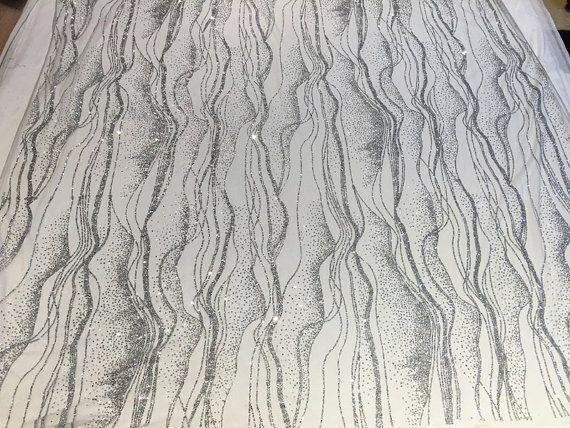 tissu paillette argent tissu de dentelle de par Lacefabricstore