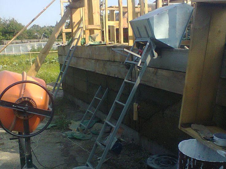 Подъемник для заливки стен монолитного дома - lift to fill the walls