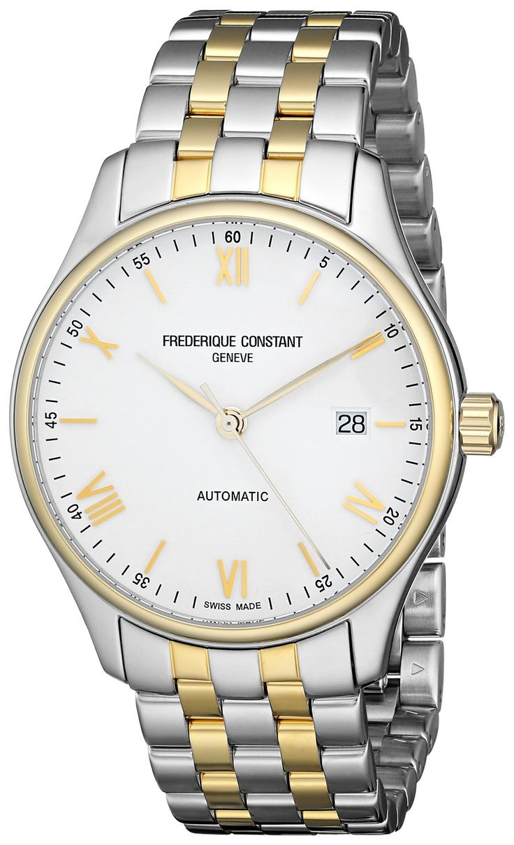 Frederique Constant Men's FC- 303WN5B3B 'Index' White Dial Two Tone Stainless Steel Swiss Automatic Watch. Round watch featuring gold-tone bezel, logoed white dial with Roman numeral/stick indices, and magnified date window at 3 o'clock. 40 mm stainless steel case with anti-reflective sapphire dial window. Swiss automatic movement with analog display. Stainless steel bracelet with gold-tone center links and deployant clasp with push-button closure. Water resistant to 50 m (165 ft): In...
