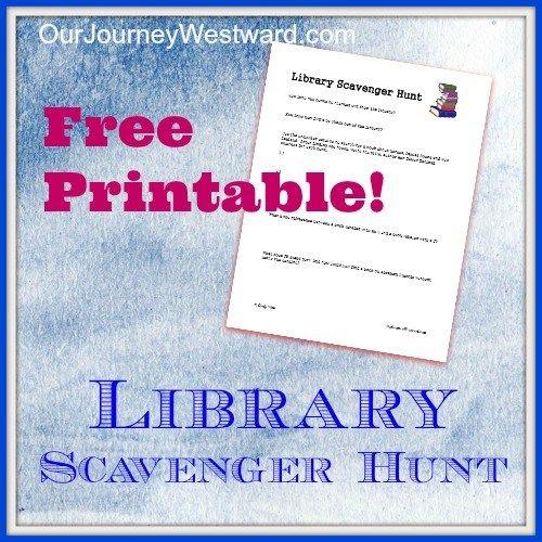 Library Scavenger Hunt | Our Journey Westward