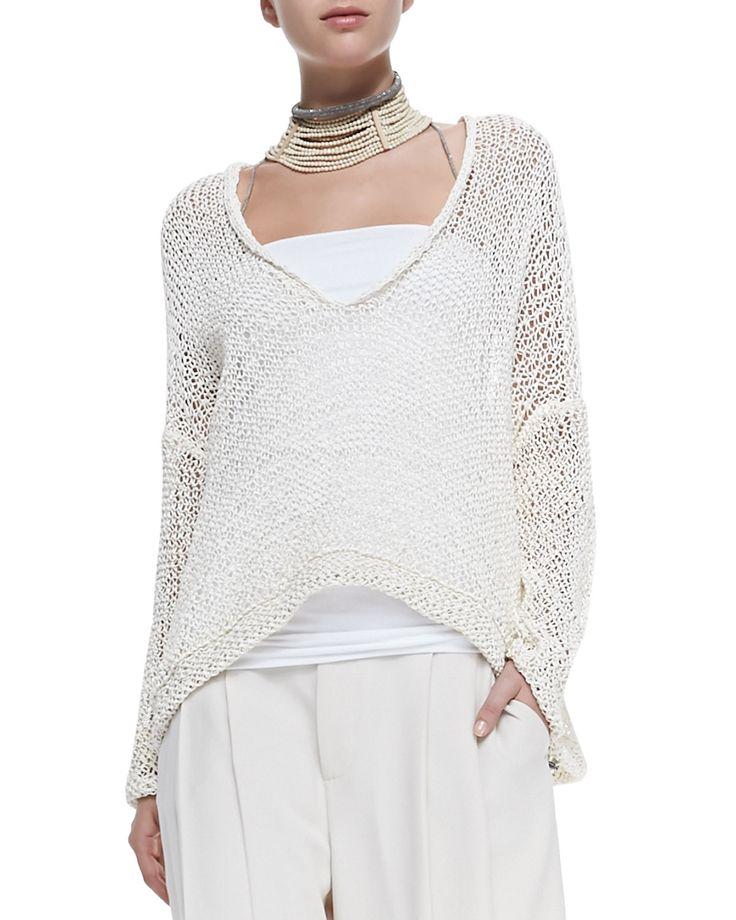Brunello Cucinelli V-Neck Rubberized Cotton Sweater