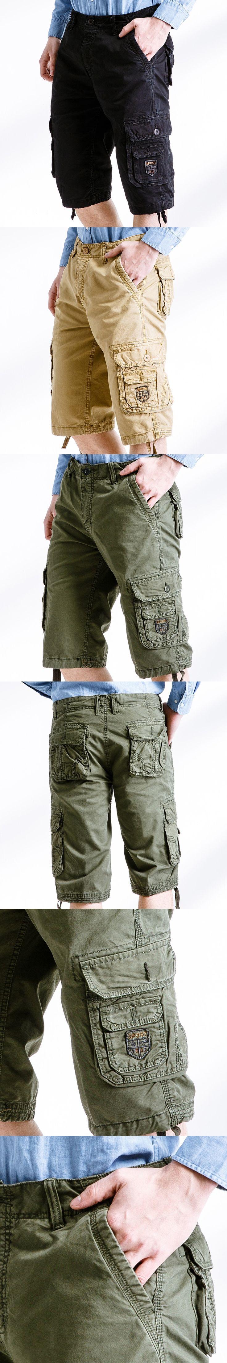 2017 Mens Leisure Cargo Pants Solid Cotton Knee Length Loose Comfortable Jogger Trousers Summer Short for Male pantalon hombre