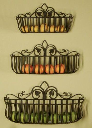 Tuscan Iron Hand Forged Metal Planters, Shelves. Love this idea for the kitchen.