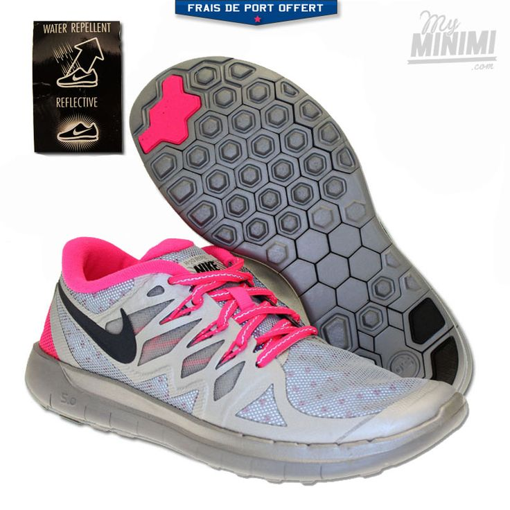 Photo Nike Free 5.0 Flash - Chaussures enfant du 36 au 38 - Gris et rose #sneakers #nike #freerun #myminimi #shoes #kids #swagg