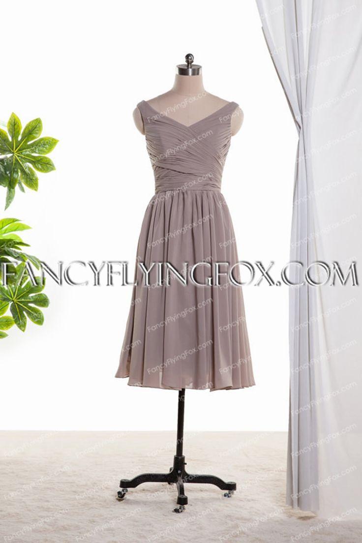 V-Neckline Silver Grey Knee Length Bridesmaid Dress