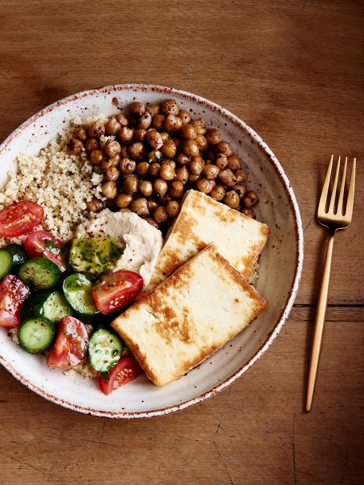 Spiced chickpea, couscous and haloumi plate. Styling – Lucy Feagins, styling assistant – Nat Turnbull, photo – Eve Wilson.
