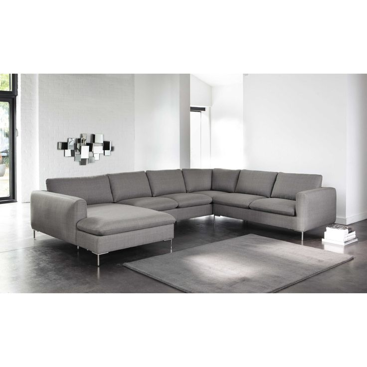 8 seater fabric corner sofa in light grey city maisons du monde