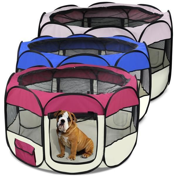 """Playpen size(M) :110 X 61cm/ 43.5"""" diameter X 24"""" H. Playpen size(L) :121 X 61cm/ 48"""" diameter X 24"""" H. 1 x Dog Playpen. Portable and lightweight. 4 metal hooks to hold the play pen onto ground if needed. 