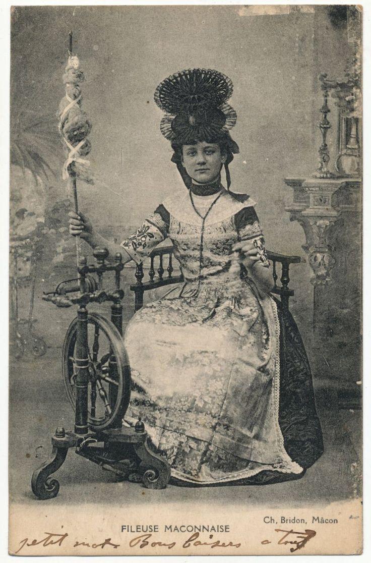 Vintage or Antique Postcard, French Lady, Folk Dress, Spinning Wheel, Burgundy Region of France