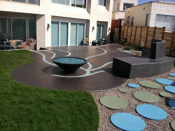 Artistic Patio Blue Concrete Outdoor Fire Pits Suncoast