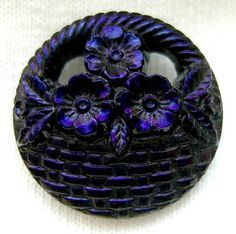 Black Luster Glass 'Flowers' Button