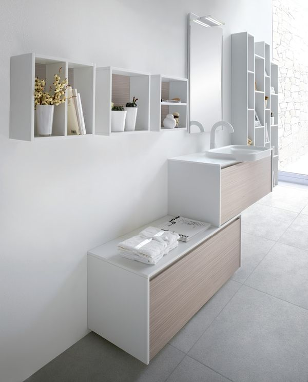 Metropolis is a minimalist collection of bathroom furniture produced