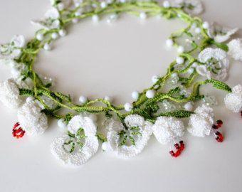 Pink Rose Necklace Oya crochet jewelry lace flower scarf