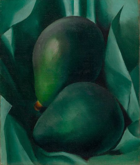 """""""Alligator Pears"""" by Georgia O'Keeffe. c1923 oil on canvas. Small only 12"""" x 10"""". Set for auction 17 November 2014 at Heritage Auctions, NYC. Opening bid $200,000USD ($245,000 w/buyer's premium).  I'm not familiar with this auction house. Sold at $461,000USD according to the Heritage web site results report."""