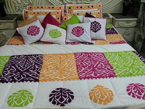 Handmade Applique Bedsheet Fabric: Pure Cotton. Piece : 14 piece set. Size : king Size. Price : 1500 PKR Make to  order. Making time 35 to 40 days.For order confirmation please contact us or wattsapp us at          0092 3312080951