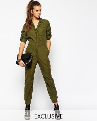 Женский комбинезон Daisy Street Long Sleeve Utility Boilersuit In Soft Touch Fabric
