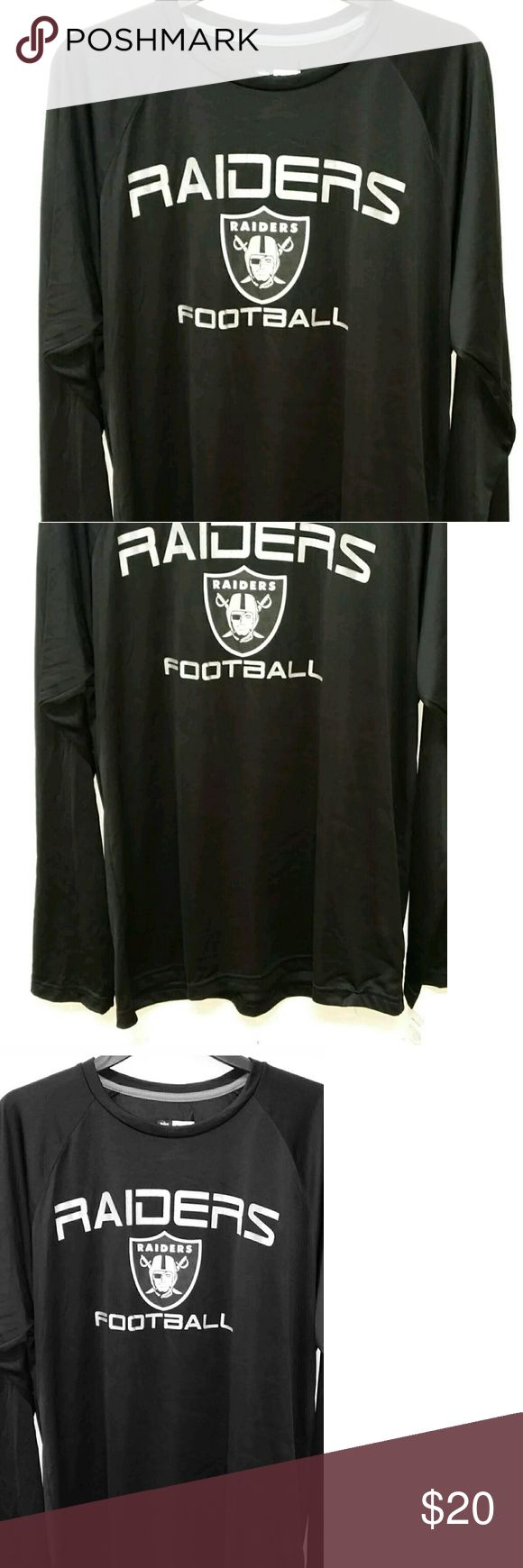 NFL Oakland Raiders Poly Long Sleeve Shirt Size L Ultra lightweight poly tee is perfect for the warm season.   Size: L  New with Tags  This tee does not say Oakland which is perfect because you can still wear it even if they move to Vegas!! NFL TEAM APPAREL  Shirts Tees - Long Sleeve