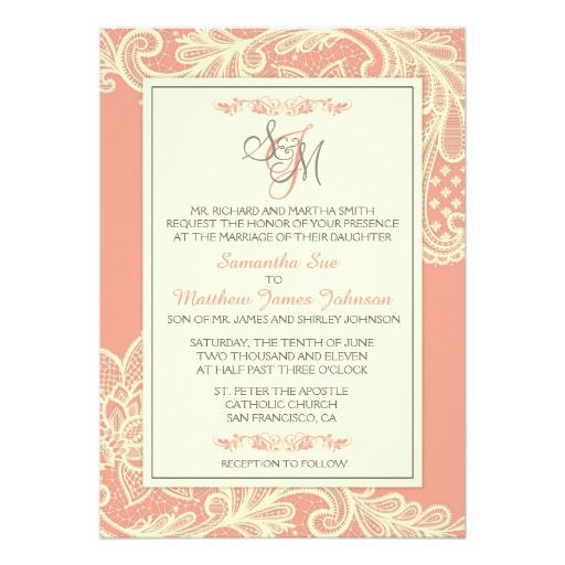 34 best coral pink wedding invitations images on pinterest coral coral and cream lace wedding invitation card stopboris Gallery
